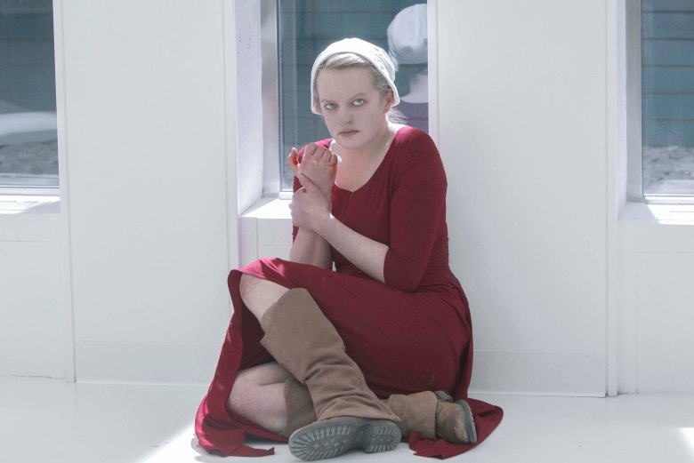 "The Handmaid's Tale -- ""Heroic"" - Episode 309 -- Confined in a hospital, Juneís sanity begins to fray. An encounter with Serena Joy forces June to reassess her recent actions. June (Elisabeth Moss), shown. (Photo by: Sophie Giraud/Hulu)"