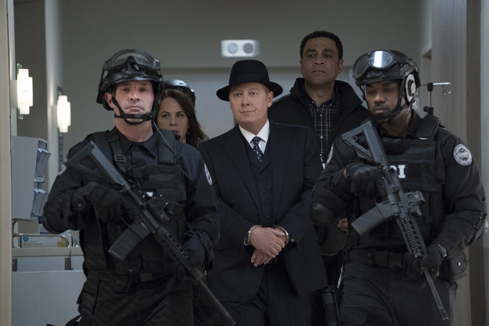"THE BLACKLIST -- ""Robert Diaz (#15)"" Episode 622 -- Pictured: (l-r) Deirdre Lovejoy as Cynthia Panabaker, James Spader as Raymond ""Red"" Reddington, Harry Lennix as Harold Cooper -- (Photo by: Virginia Sherwood/NBC)"