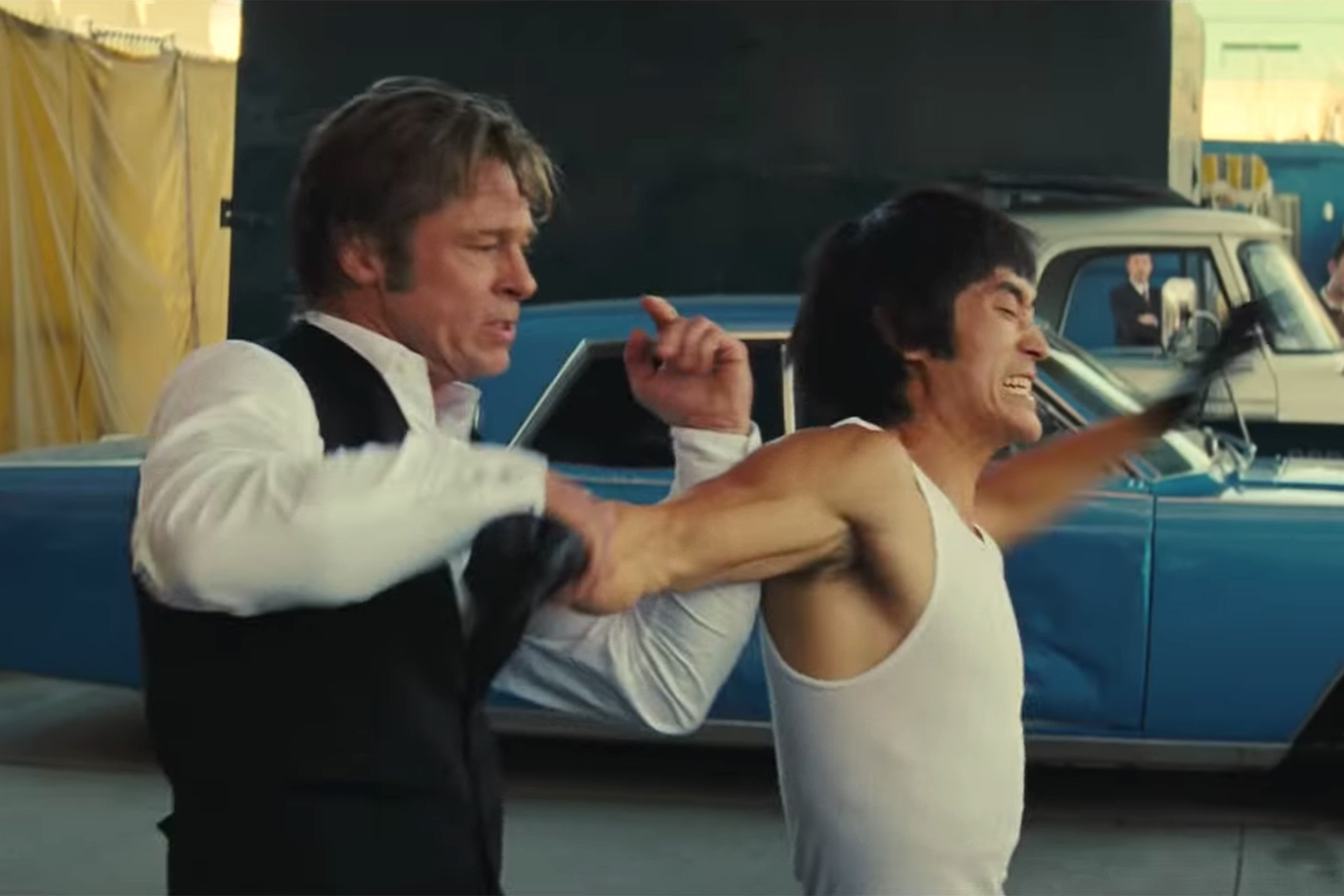 Brad Pitt Bruce Lee (Mike Moh) Once Upon a Time in Hollywoodhttps://www.youtube.com/watch?v=Scf8nIJCvs4Credit: Sony Pictures Entertainment