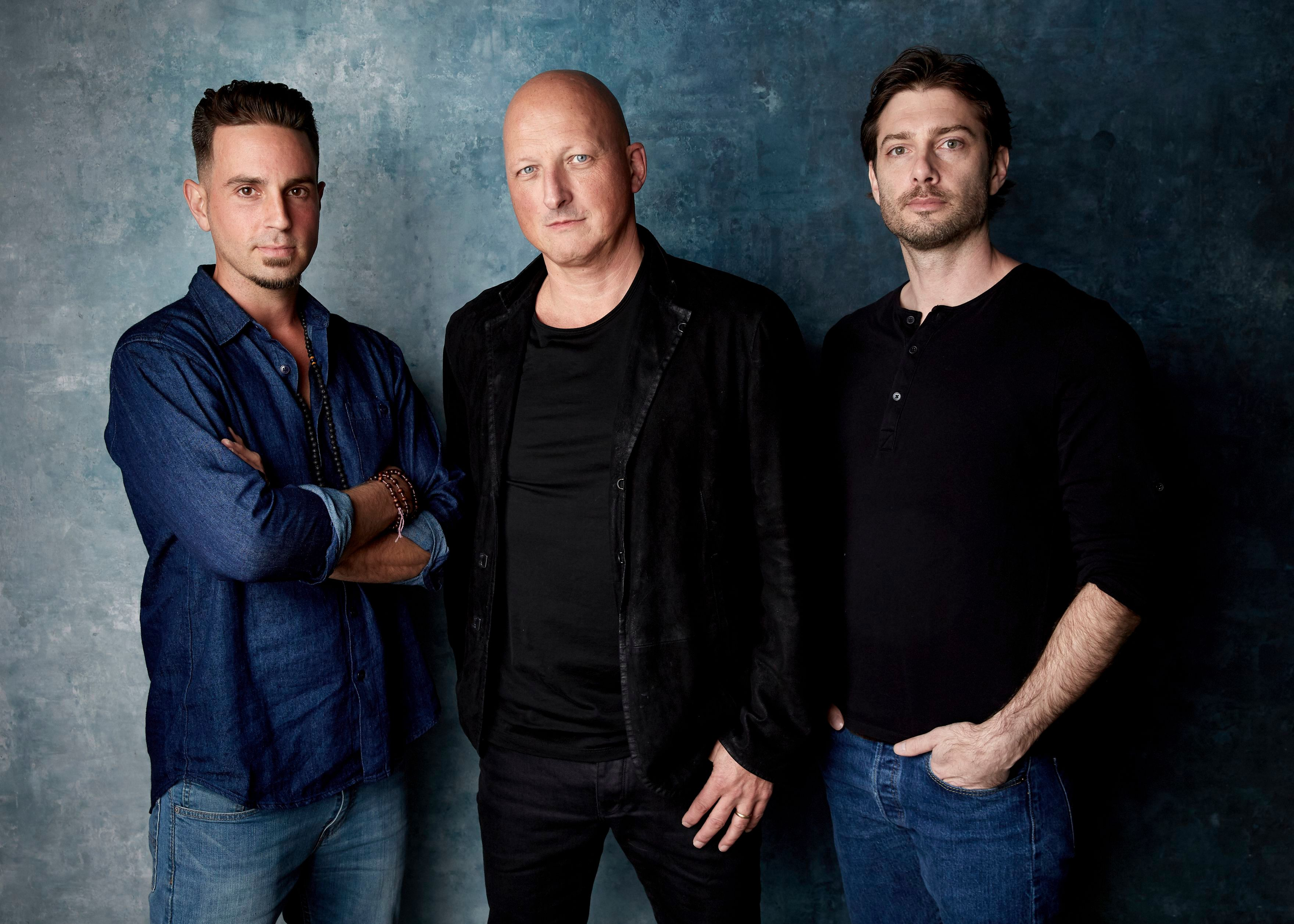 "Wade Robson, Dan Reed, James Safechuck. Wade Robson, from left, director Dan Reed and James Safechuck pose for a portrait to promote the film ""Leaving Neverland"" at the Salesforce Music Lodge during the Sundance Film Festival, in Park City, Utah2019 Sundance Film Festival - ""Leaving Neverland"" Portrait Session, Park City, USA - 24 Jan 2019"