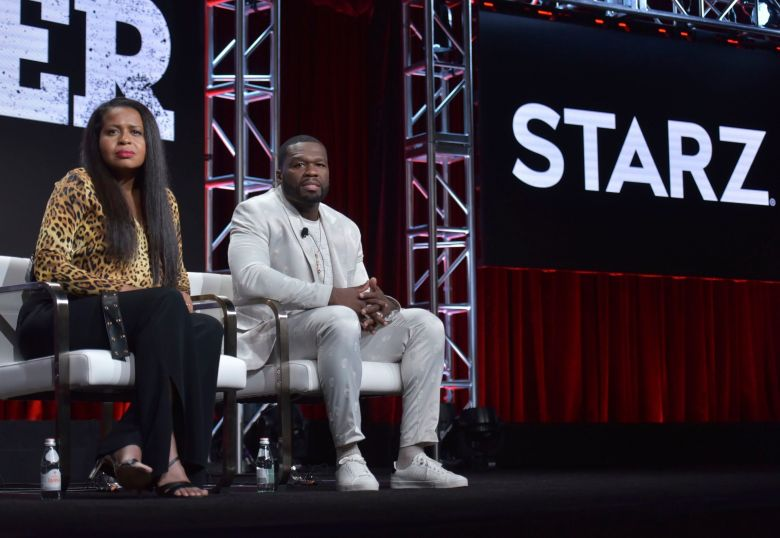 """Courtney A. Kemp, Curtis Jackson. Creator/executive producer Courtney A. Kemp, left, and Curtis """"50 Cent"""" Jackson participate in the Starz """"Power"""" panel at the Television Critics Association Summer Press Tour, in Beverly Hills, Calif2019 Summer TCA - Starz, Beverly Hills, USA - 26 Jul 2019"""