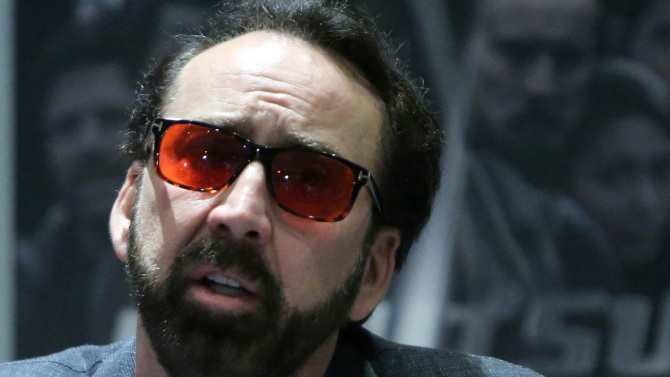 """Academy award winning actor Nicolas Cage speaks at a news conference for his new film Jiu Jitsu being filmed on the eastern Mediterranean island nation of Cyprus, in the Cypriot capital Nicosia on . Cage said the film which is a fusion of the action and science fiction genres which he has admired and grew up with drew him to the project. He said Cyprus had a """"good spirit"""" for him which he said informs his performanceMovie Cage, Nicosia, Cyprus - 29 Jun 2019"""