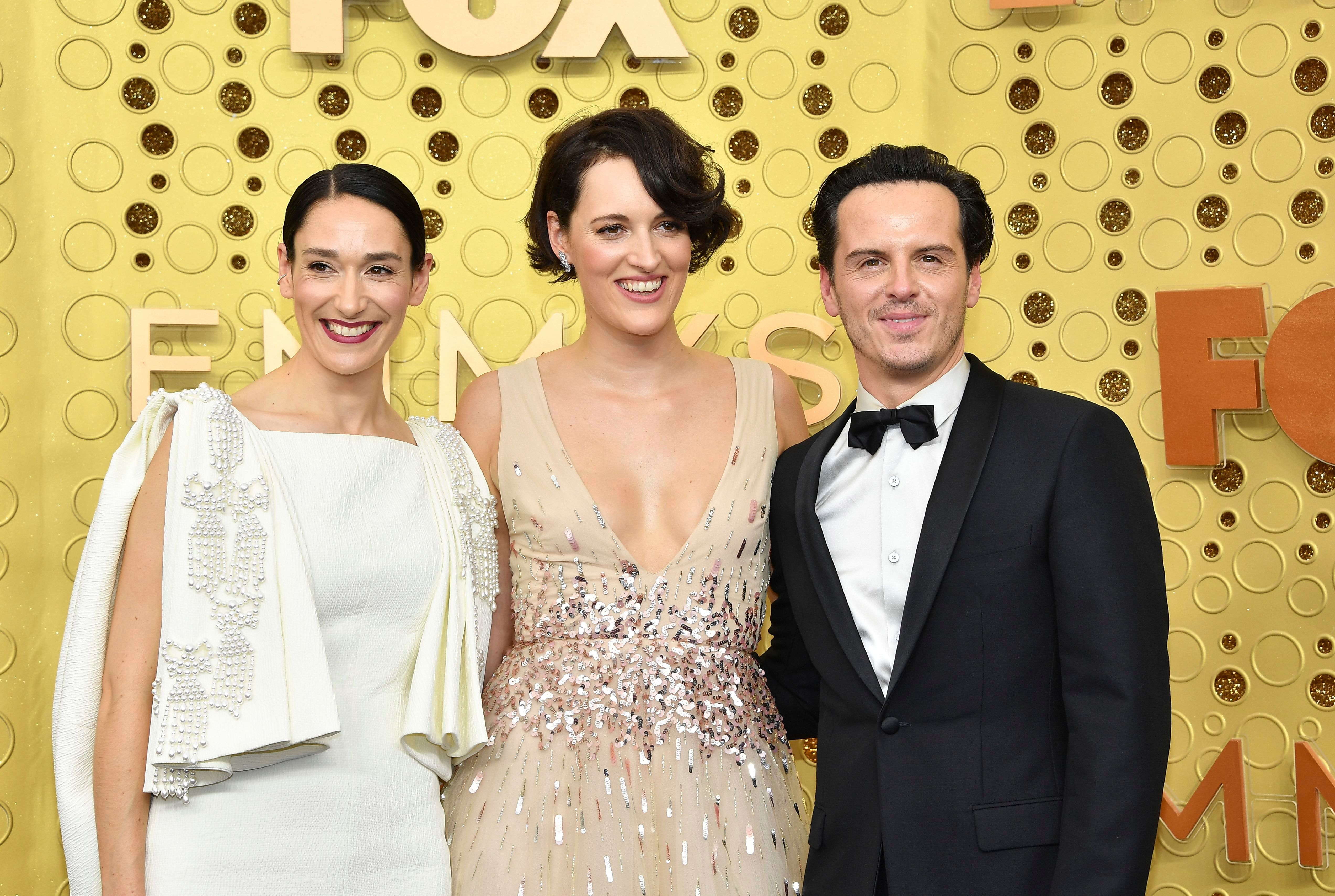 Andrew Scott, Phoebe Waller-Bridge, Sian Clifford. Sian Clifford, from left, Phoebe Waller-Bridge and Andrew Scott arrive at the 71st Primetime Emmy Awards, at the Microsoft Theater in Los Angeles71st Primetime Emmy Awards - Arrivals, Los Angeles, USA - 22 Sep 2019