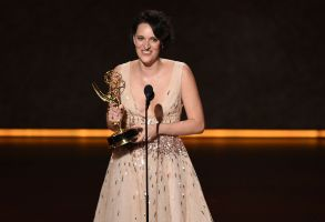 """Phoebe Waller-Bridge accepts the award for outstanding writing for a comedy series for """"Fleabag"""" at the 71st Primetime Emmy Awards, at the Microsoft Theater in Los Angeles2019 Primetime Emmy Awards - Show, Los Angeles, USA - 22 Sep 2019"""