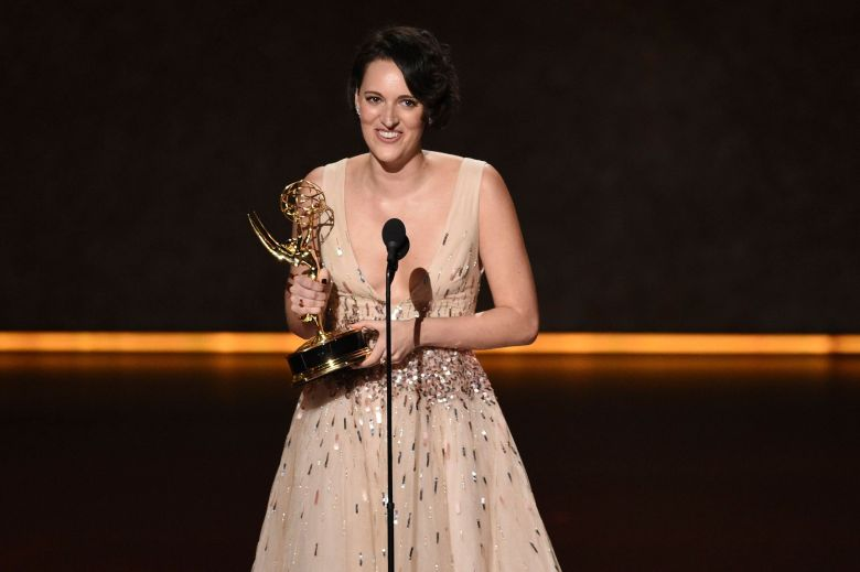 "Phoebe Waller-Bridge accepts the award for outstanding writing for a comedy series for ""Fleabag"" at the 71st Primetime Emmy Awards, at the Microsoft Theater in Los Angeles2019 Primetime Emmy Awards - Show, Los Angeles, USA - 22 Sep 2019"