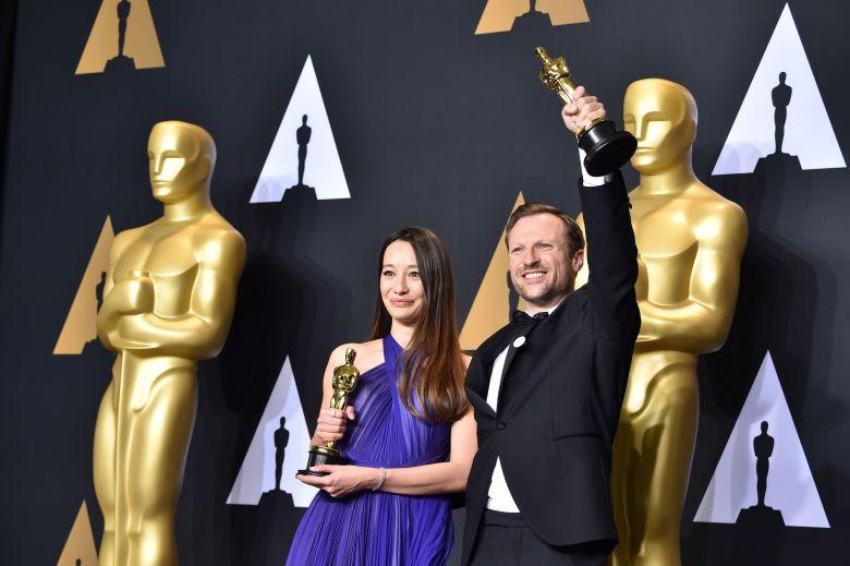 Orlando von Einsiedel and Joanna Natasegara - Documentary (Short Subject) - 'The White Helmets'89th Annual Academy Awards, Press Room, Los Angeles, USA - 26 Feb 2017