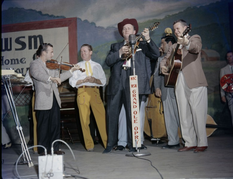 Bill Monroe on the Grand Ole Opry, Nashville, c.1958.Credit: Les Leverett Collection