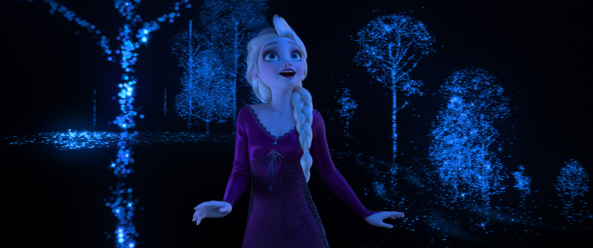 """INTO THE UNKNOWN – In """"Frozen 2,"""" Elsa feels that she's being beckoned by a voice from far away, a calling she can't ignore showcased in the original song """"Into the Unknown."""" She learns that answers await her—but she must venture far from home. Featuring Idina Menzel as the voice of Elsa, Walt Disney Animation Studios' """"Frozen 2"""" opens in U.S. theaters on Nov. 22, 2019. © 2019 Disney. All Rights Reserved."""