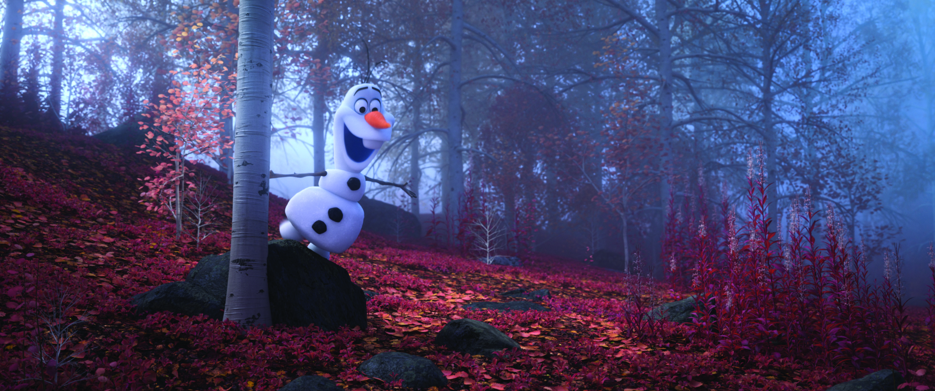 "WHEN I AM OLDER – When Elsa, Anna, Kristoff and Olaf find themselves in the enchanted forest in ""Frozen 2,"" Olaf faces a series of inexplicable events, illustrated in the song ""When I Am Older."" Despite the mystery and dangerous realities coming to life before his eyes, the lovable snowman is convinced that one day, it'll all make sense. Featuring Josh Gad as the voice of Olaf, Walt Disney Animation Studios' ""Frozen 2"" opens in U.S. theaters on Nov. 22, 2019. © 2019 Disney. All Rights Reserved."
