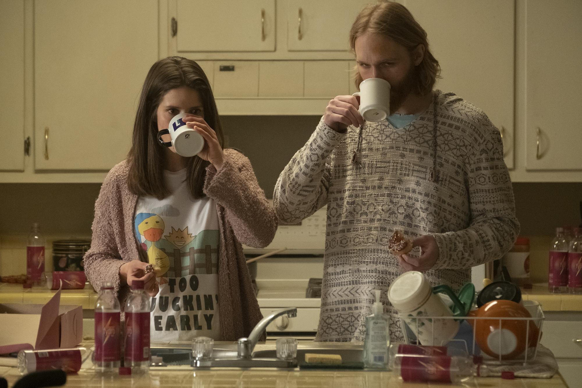 "Sonya Cassidy as Liz Dudley, Wyatt Russell as Sean ""Dud"" Dudley - Lodge 49 _ Season 2, Episode 5 - Photo Credit: Jackson Lee Davis/AMC"