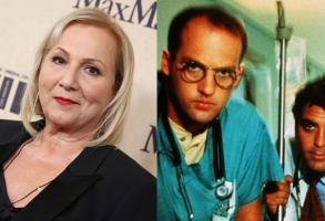 """Mimi Leder and a shot from """"ER,"""" starring Anthony Edwards and George Clooney"""