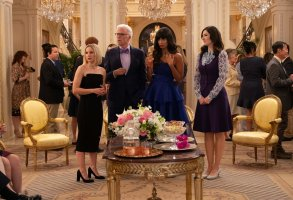 "THE GOOD PLACE cast Season 4 -- ""A Girl From Arizona"" Episode 401/402 -- Pictured: (l-r) Kristen Bell as Eleanor, Ted Danson as Michael, Jameela Jamil as Tahani, D'Arcy Carden as Janet -- (Photo by: Colleen Hayes/NBC)"