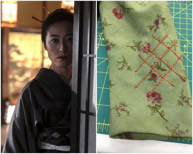 Natsuki Kunimoto as Chiyo (left), and a sample of fabric for Yuko's civilian dress (right)