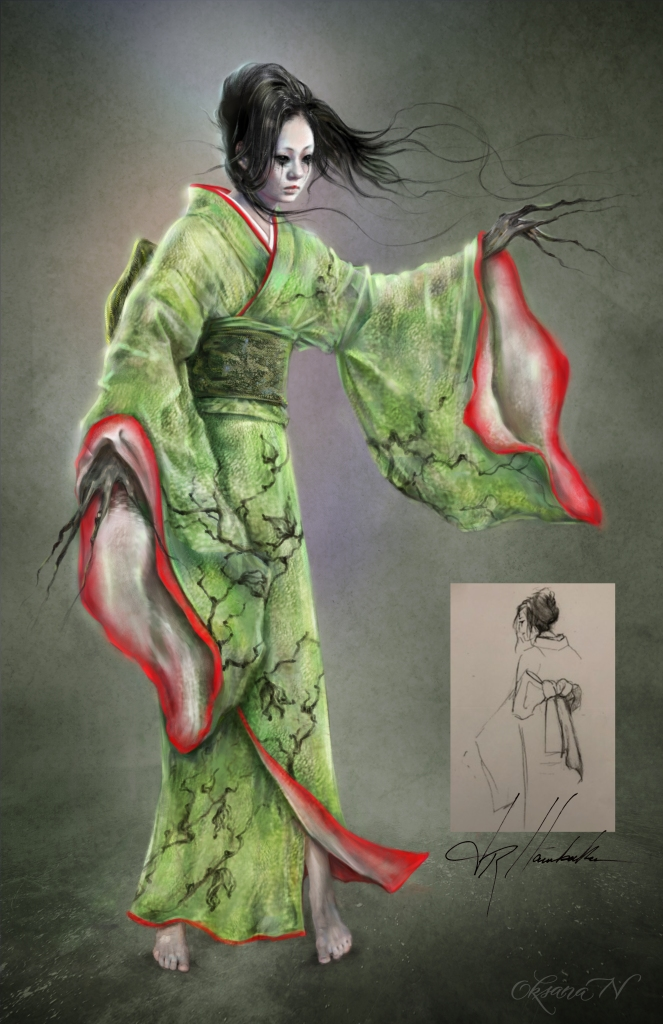 Yuko Yurei Kimono design by JR Hawbaker. Illustration by Oksana Nedavniaya