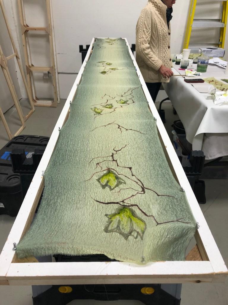 Yuko Yurei kimono fabric development - crinkle skin texture effect & Yuzen resist dyeing