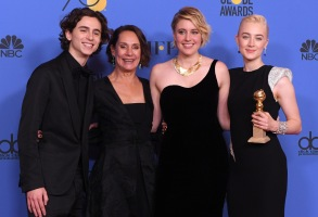 Timothee Chalamet, Laurie Metcalf, Greta Gerwig and Saoirse Ronan - - Best Motion Picture, Musical or Comedy - 'Lady Bird'75th Annual Golden Globe Awards, Press Room, Los Angeles, USA - 07 Jan 2018