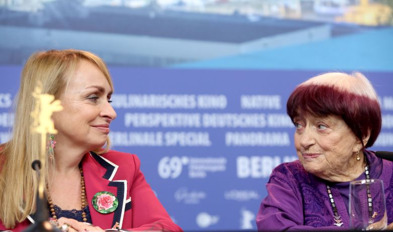 Agnes Varda (R) and French producer Rosalie Varda (L) attend the press conference of 'Varda by Agnes' (Varda par Agnes) during the 69th annual Berlin Film Festival, in Berlin, Germany, 13 February 2019. The movie, which plays out of competition, will world premiere at the Berlinale that runs from 07 to 17 February.Varda by Agnes press conference, 69th Berlin Film Festival, Germany - 13 Feb 2019