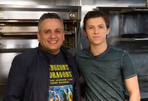"Joe Russo, Tom Holland. Joe Russo, left, and Tom Holland participate in the Cooking with ""The Avengers"" event at the Simone Restaurant, in Los AngelesCooking with ""The Avengers"", Los Angeles, USA - 12 Nov 2018"