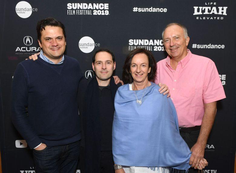 Matt Dentler, Head of Feature Acquisition, Worldwide Video, Apple, Alex Heffes, Composer, Victoria Stone, Director, Mark Deeble, Writer/DirectorApple's The Elephant Queen at the 2019 Sundance Film Festival, Park City, USA - 27 Jan 2019