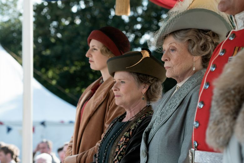 Editorial use only. No book cover usage.Mandatory Credit: Photo by Liam Daniel/Focus Features/Kobal/Shutterstock (10418433an)Laura Carmichael as Lady Edith, Imelda Staunton as Maud Bagshaw and Dame Maggie Smith as Violet Crawley'Downton Abbey' Film - 2019PRESS SITE The continuing story of the Crawley family, wealthy owners of a large estate in the English countryside in the early 20th century.