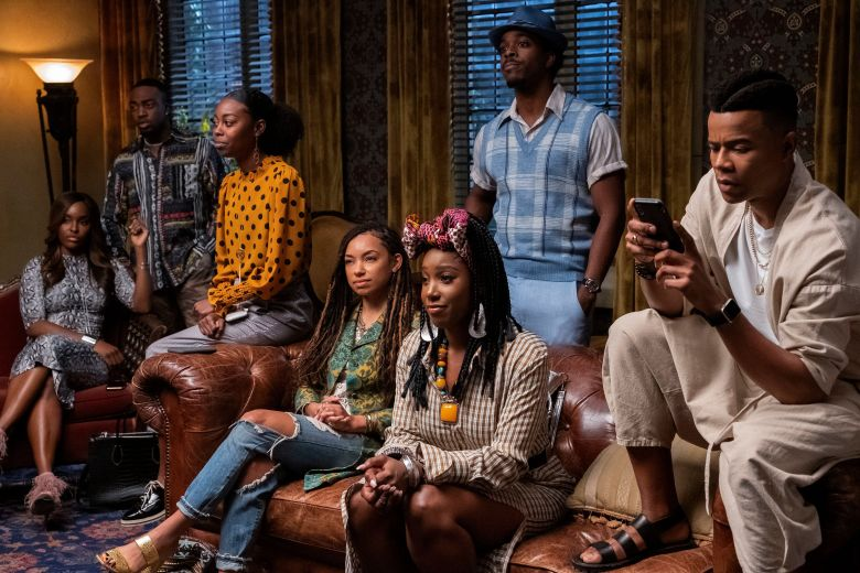 Editorial use only. No book cover usage.Mandatory Credit: Photo by Lara Solanki/Netflix/Kobal/Shutterstock (10375204s)Antoinette Robertson as Colandrea 'Coco' Conners, Logan Browning as Samantha White, Ashley Blaine Featherson as Joelle Brooks, Brandon Black as Kordell and Marque Richardson as Reggie Green'Dear White People' TV Show Season 3 - 2019At a predominantly white Ivy League college, a group of black students navigate various forms of racial and other types of discrimination.