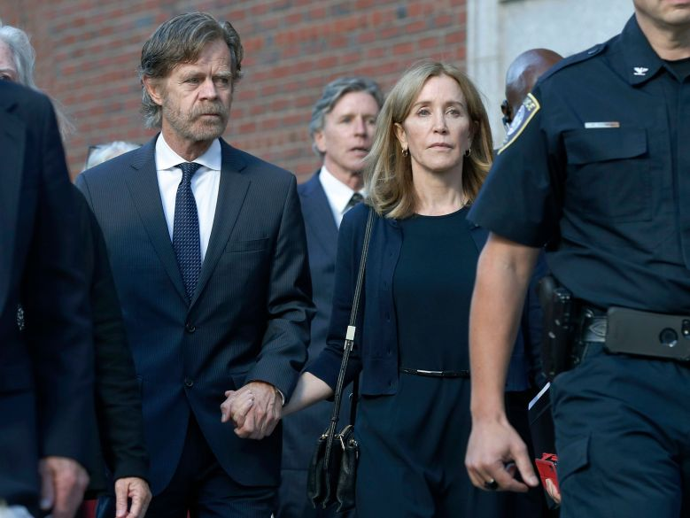 Felicity Huffman, William H. Macy, Moore Huffman Jr. Felicity Huffman leaves federal court with her husband William H. Macy, left, and her brother Moore Huffman Jr. rear center, after she was sentenced in a nationwide college admissions bribery scandal, in BostonCollege Admissions Bribery, Boston, USA - 13 Sep 2019