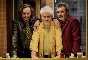 Editorial use only. No book cover usage.Mandatory Credit: Photo by Canal+/Sony/GEM/Kobal/Shutterstock (10417437g)Asier Etxeandia as Alberto Crespo, Pedro Almodovar Director and Antonio Banderas as Salvador Mallo'Pain and Glory' Film - 2019A film director reflects on the choices he's made in life as past and present come crashing down around him.