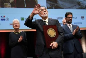 US director Francis Ford Coppola holds his award during the Lumiere Award ceremony of the 11th Lumiere Festival, in Lyon, central FranceLumiere Festival, Lyon, France - 18 Oct 2019