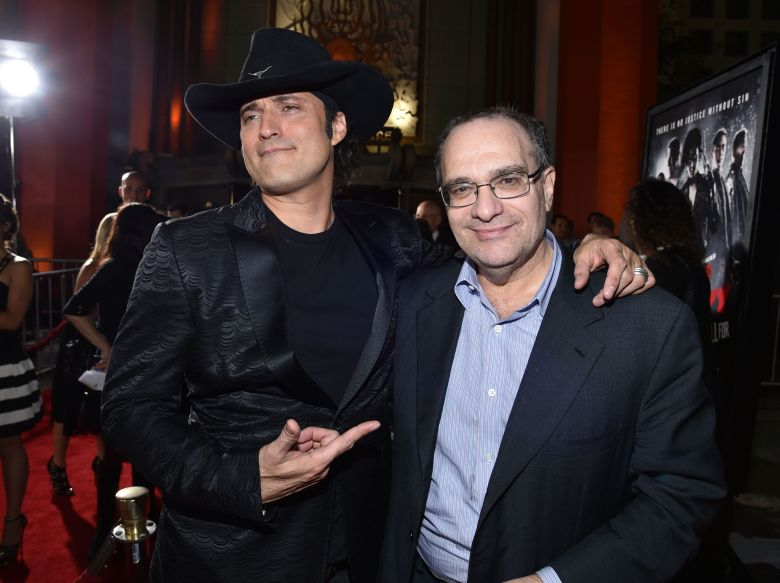 """Director Robert Rodriguez, left, and co-chairman of The Weinstein Company and Dimension Films Bob Weinstein arrive at the """"Sin City: A Dame to Kill For"""" premiere presented by Dimension Films in partnership with Time Warner Cable, Dodge and DeLeon Tequila at TCL Chinese Theatre, in Los Angeles""""Sin City: A Dame to Kill For"""" Premiere Presented by Dimension Films in Partnership with Time Warner Cable, Dodge and DeLeon Teq, Los Angeles, USA"""