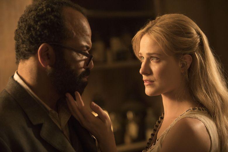 "Jeffrey Wright and Evan Rachel Wood in ""Westworld"""