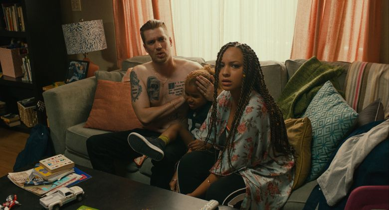 "Editorial use only. No book cover usage.Mandatory Credit: Photo by Foley Walkers/Lionsgate/Kobal/Shutterstock (9768868c)Rafael Casal, Ziggy Baitinger, Jasmine Cephas Jones""Blindspotting"" Film - 2018"