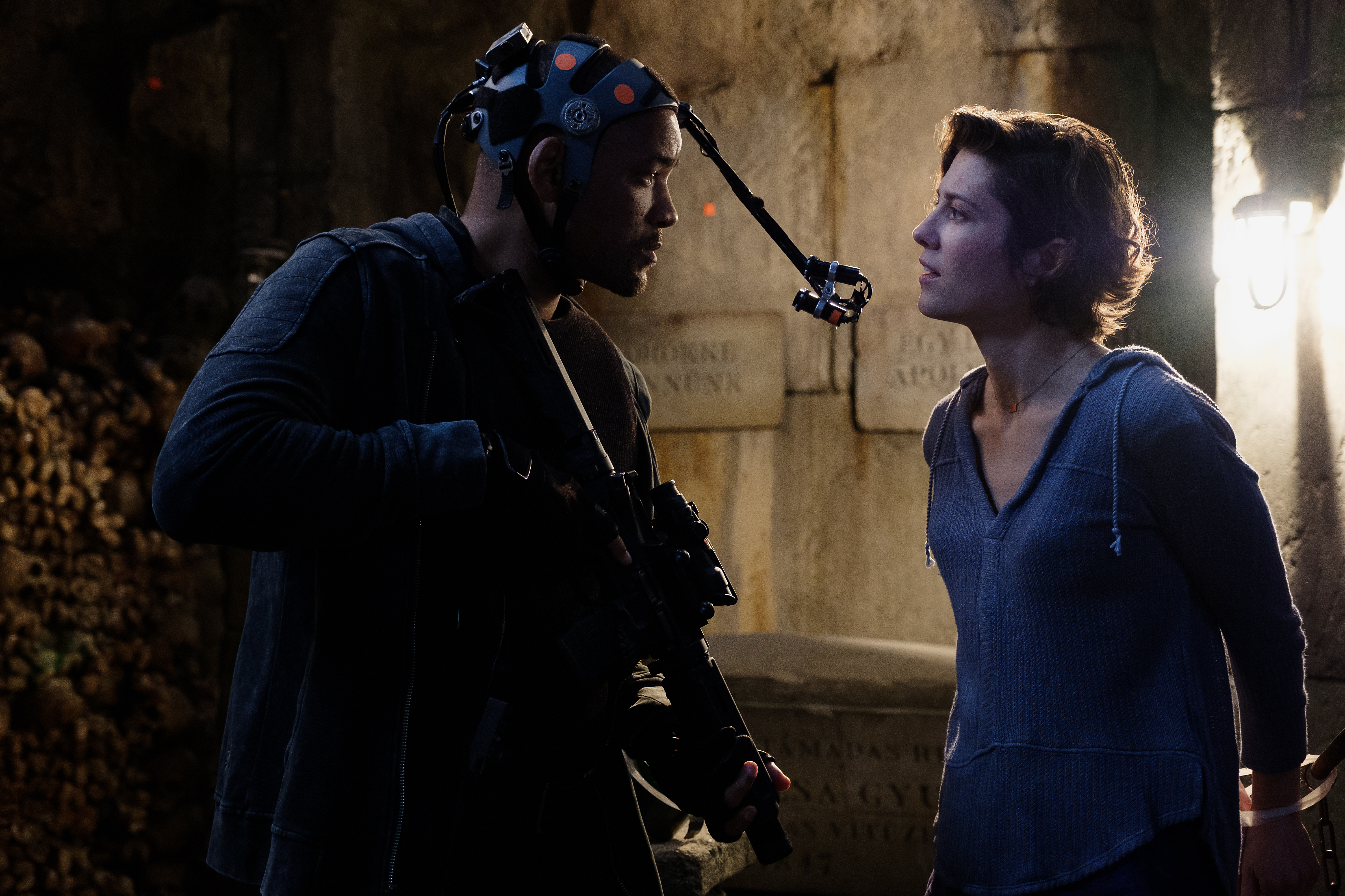 Will Smith and Mary Elizabeth Winstead on the set of Gemini Man from Paramount Pictures, Skydance and Jerry Bruckheimer Films.