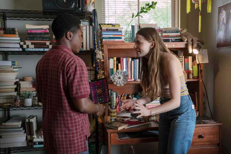 "Looking For Alaska -- ""Famous Last Words"" - Episode 101 -- Miles Halter, seeking a more than minor life, enrolls at Culver Creek Academy. On his first day, he gets a new nickname, a best friend, some enemies and makes a deal with Alaska Young that will change his life forever. The Colonel (Denny Love) and Alaska (Kristine Froseth), shown. (Photo by: Alfonso Bresciani/Hulu)"
