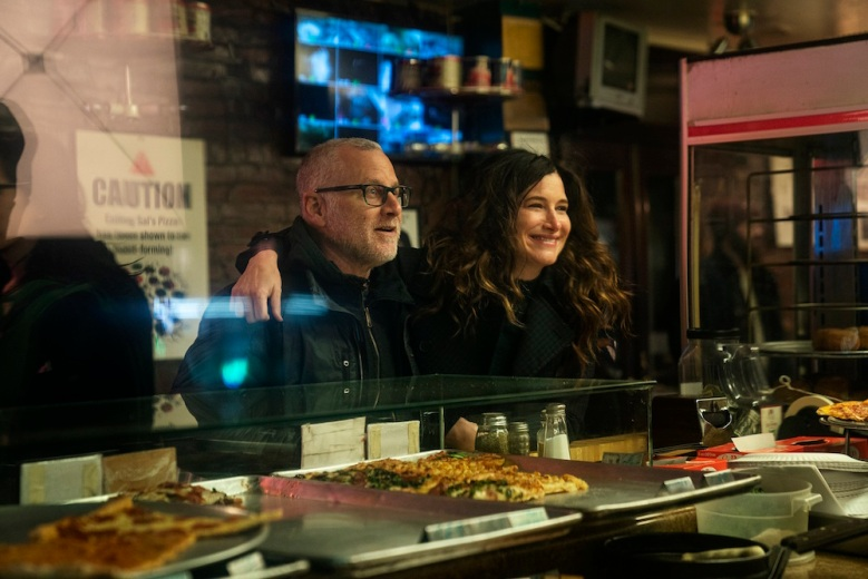 "Tom Perrotta and Kathryn Hahn on the set of ""Mrs. Fletcher"""