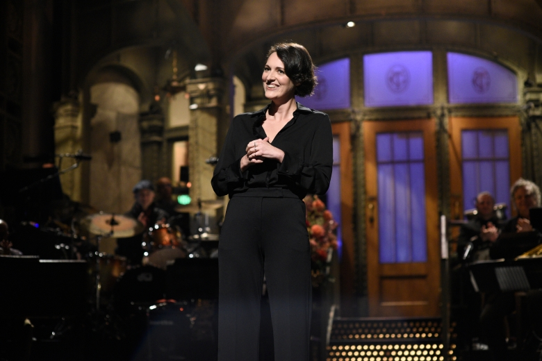 "SATURDAY NIGHT LIVE -- ""Phoebe Waller-Bridge"" Episode 1769 -- Pictured: Host Phoebe Waller-Bridge during the monologue on Saturday, October 5, 2019 -- (Photo by: Will Heath/NBC)"
