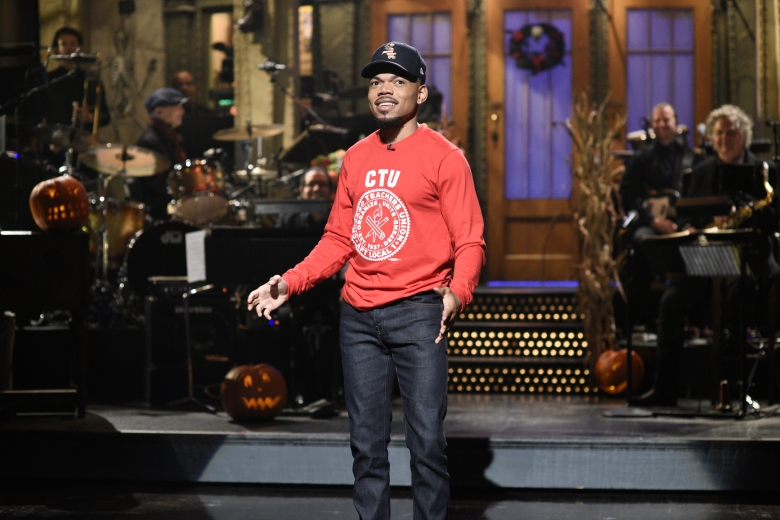 "SATURDAY NIGHT LIVE -- ""Chance The Rapper"" Episode 1771 -- Pictured: Host Chance The Rapper during the Monologue on Saturday, October 26, 2019 -- (Photo by: Will Heath/NBC)"