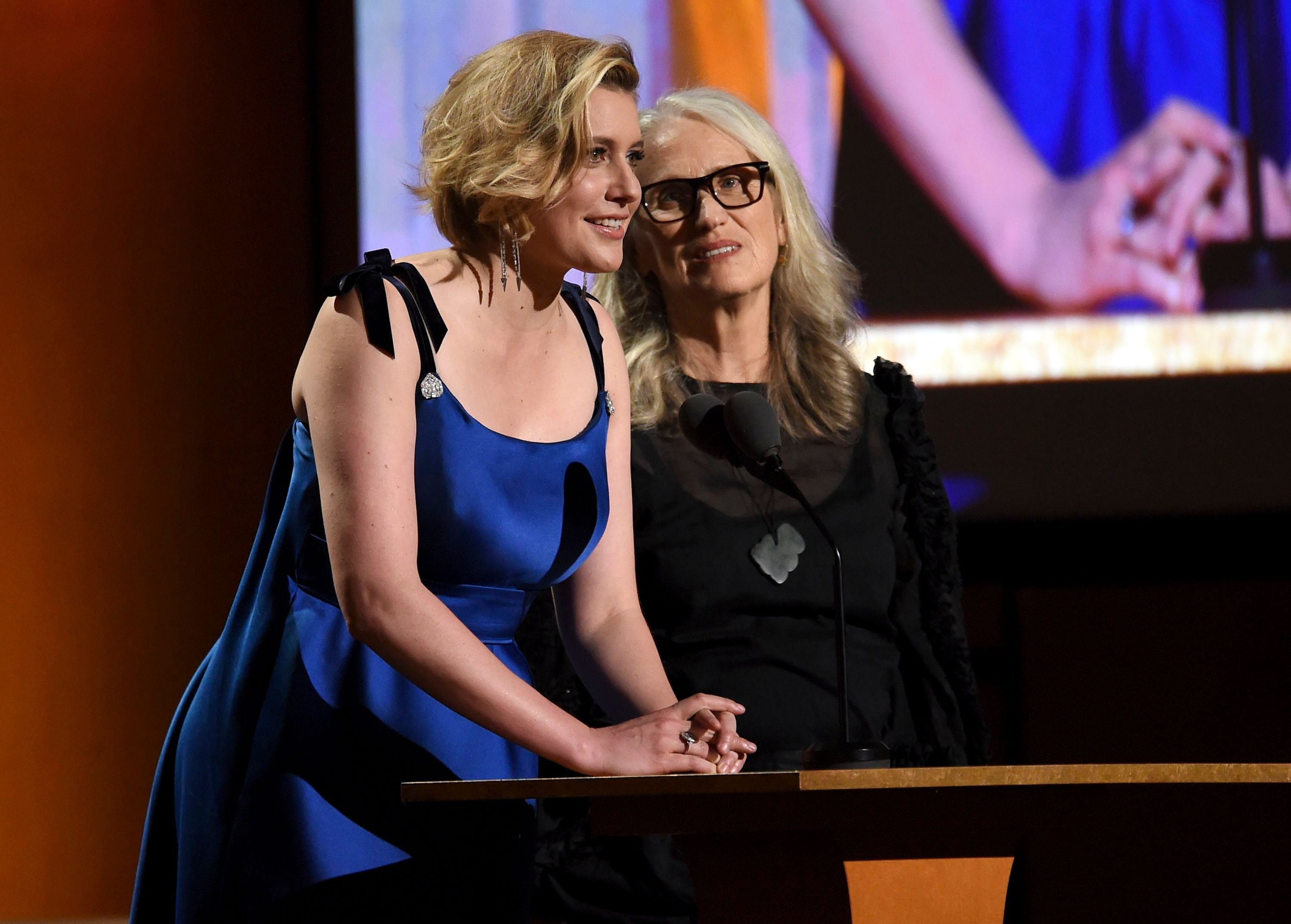 Greta Gerwig, Jane Campion. Greta Gerwig, left, and Jane Campion speak at the Governors Awards, at the Dolby Ballroom in Los Angeles2019 Governors Awards - Show, Los Angeles, USA - 27 Oct 2019