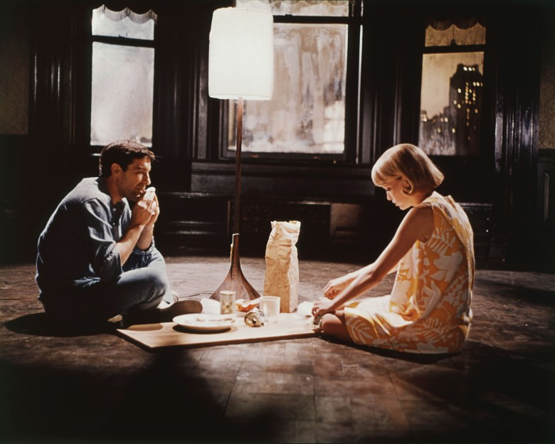 Editorial use only. No book cover usage.Mandatory Credit: Photo by Paramount/Kobal/Shutterstock (5885523z) Mia Farrow, John Cassavetes Rosemary's Baby - 1968 Director: Roman Polanski Paramount USA Scene Still Horror
