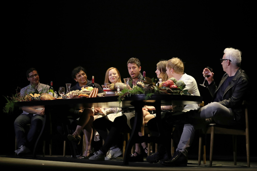 """From left, Josh Horowitz, M. Night Shyamalan, Lauren Ambrose, Toby Kebbell, Nell Tiger Free, Rupert Grint, and Tony Basgallop participate in the """"A Night with M. Night: Introducing Servant on Apple TV+"""" panel at Hammerstein Ballroom on the first day of New York Comic Con, in New York2019 Comic Con, New York, USA - 03 Oct 2019"""