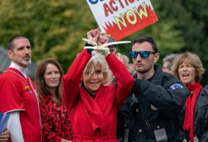 Actress and activist Jane Fonda is arrested at the Capitol for blocking the street after she and other demonstrators called on Congress for action to address climate change, in WashingtonCongress Climate Change, Washington, USA - 25 Oct 2019
