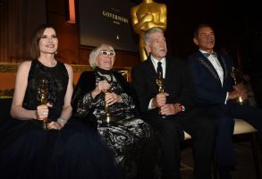 Geena Davis, Lina Wertmuller, David Lynch, Wes Studi. Geena Davis, winner of the Jean Hersholt humanitarian award, from left and honorees Lina Wertmuller, David Lynch and Wes Studi pose following the Governors Awards, at the Dolby Ballroom in Los Angeles2019 Governors Awards - Show, Los Angeles, USA - 27 Oct 2019
