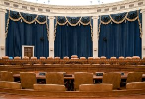 The House Ways and Means Committee hearing room, the largest hearing room in the House, is seen on Capitol Hill in Washington, . Rep. Adam Schiff, chairman of the House Intelligence Committee, will use this room to hold the first public session in its probe of whether President Donald Trump violated his oath of office by coercing Ukraine to investigate political rival Joe Biden and his familyTrump Impeachment, Washington, USA - 08 Nov 2019