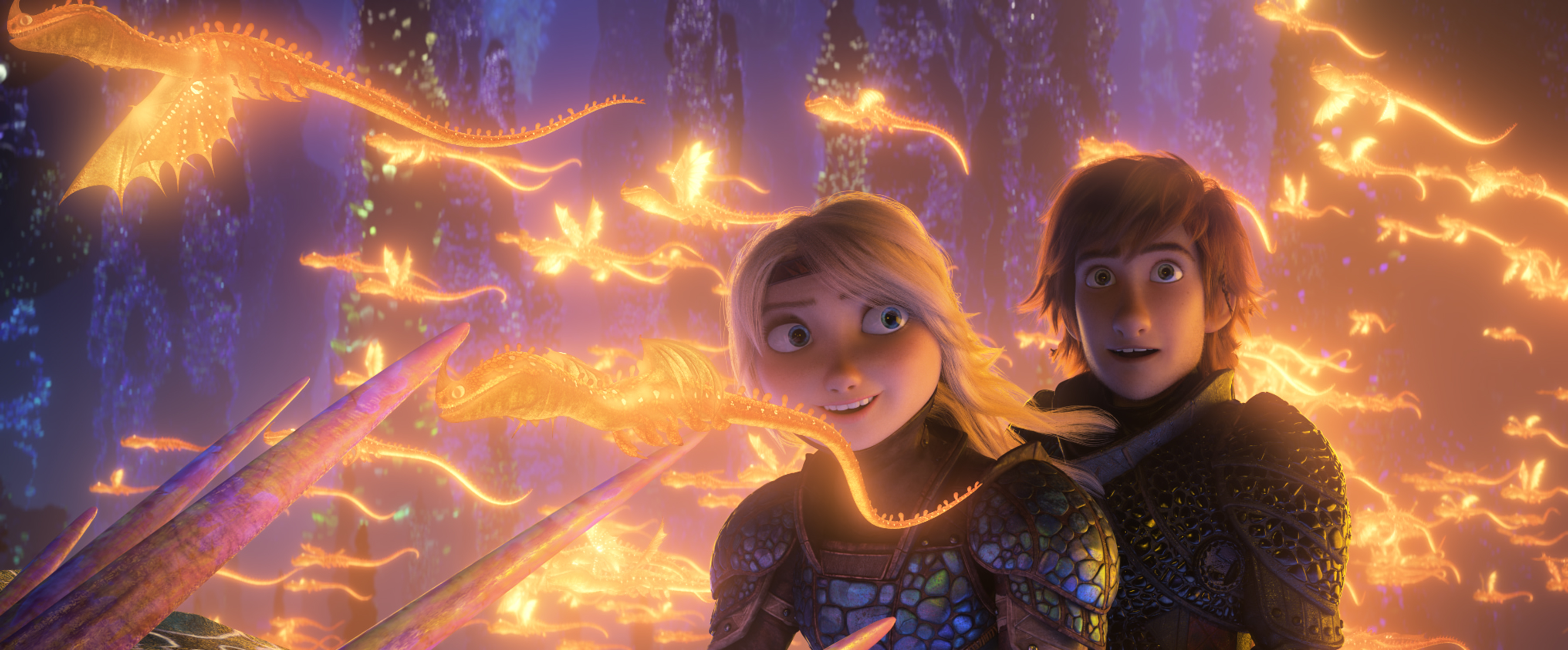Astrid (America Ferrera) and Hiccup (Jay Baruchel) in DreamWorks Animation's How To Train Your Dragon: The Hidden World, directed by Dean DeBlois.