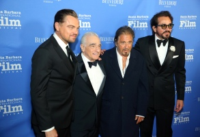 GOLETA, CALIFORNIA - NOVEMBER 14:  Leonardo DiCaprio, Martin Scorsese, Al Pacino and  SBIFF Director Roger Durling arrive at Santa Barbara International Film Festival - Kirk Douglas Award Honoring Martin Scorsese sponsored by Belvedere Vodka at The Ritz-Carlton Bacara on November 14, 2019 in Goleta, California. (Photo by Rebecca Sapp/Getty Images for Santa Barbara International Film Festival)