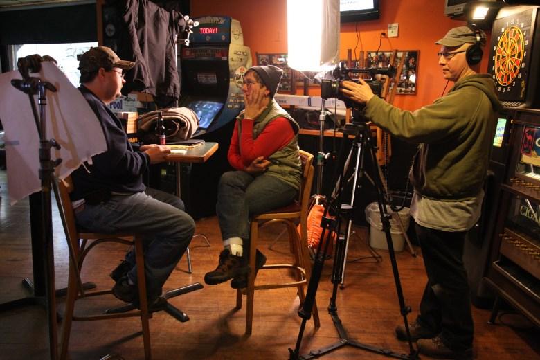 """Julia Reichert and Steven Bognar conducting interviews for """"Last Truck"""""""