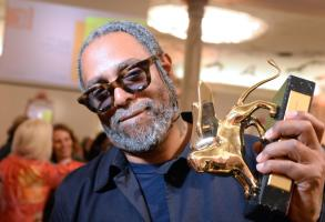 US artist Arthur Jafa holds the Golden Lion award for best artist during the awarding ceremony of the 58th International Art Exhibition of the Biennale in Venice, Italy, 11 May 2019. The art event runs from 11 May to 24 November 2019.58th International Art Exhibition of the Biennale in Venice, Italy - 11 May 2019