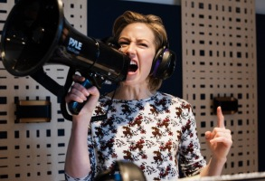 "Carrie Coon in the recording studio for ""Motherhacker"""