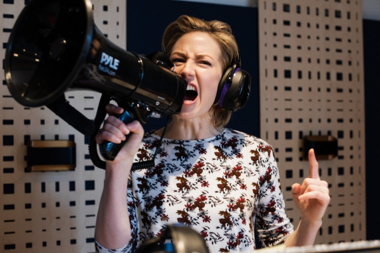 """Carrie Coon in the recording studio for """"Motherhacker"""""""