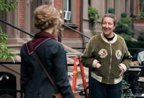 "BTS:  Jo March (Saoirse Ronan)  Costume Designer Jacqueline Durran on the set of Greta Gerwig's LITTLE WOMEN"""
