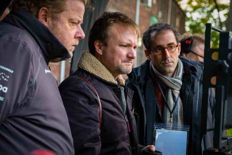 "Director Rian Johnson and cinematographer Steve Yedlin on the set of ""Knives Out"""